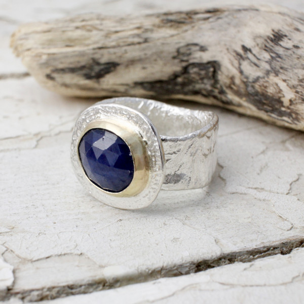 Marsha Drew, Textured Statement Ring with 9ct Gold and Blue Sapphire