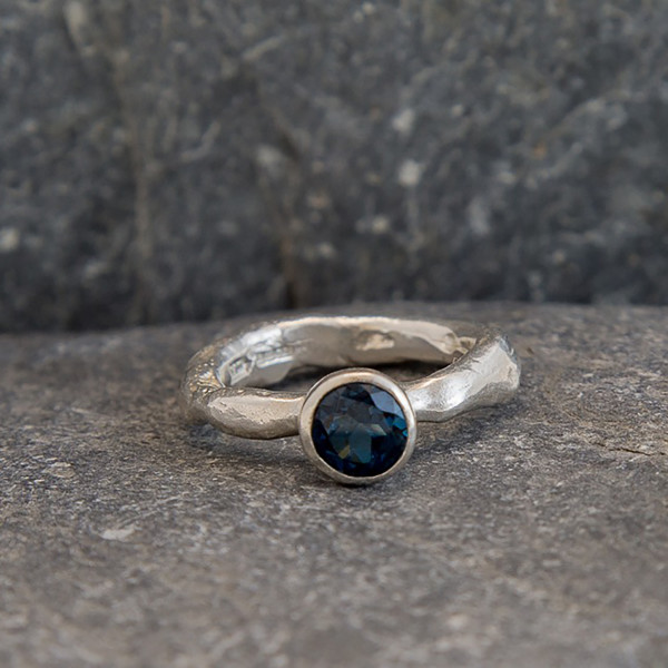 Marsha Drew, Rockpool Rustic Ring with large London Blue Topaz