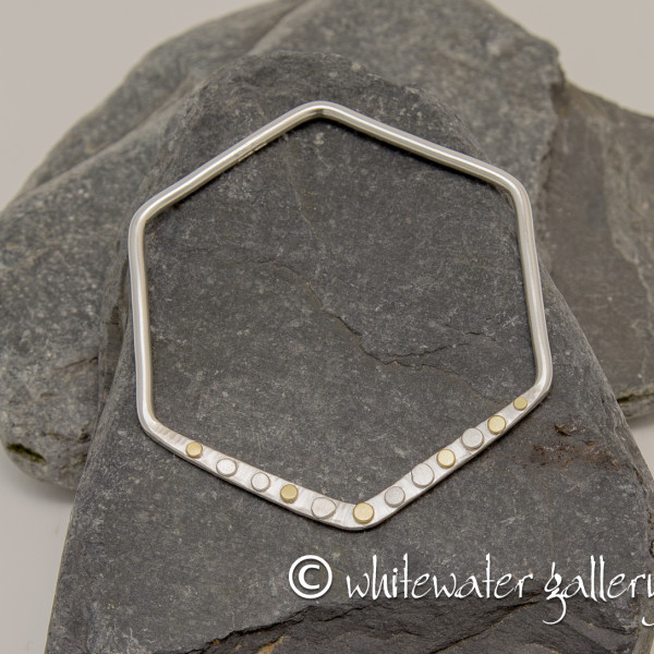 Marsha Drew, Hexagon Bangle with 18k Gold Dots