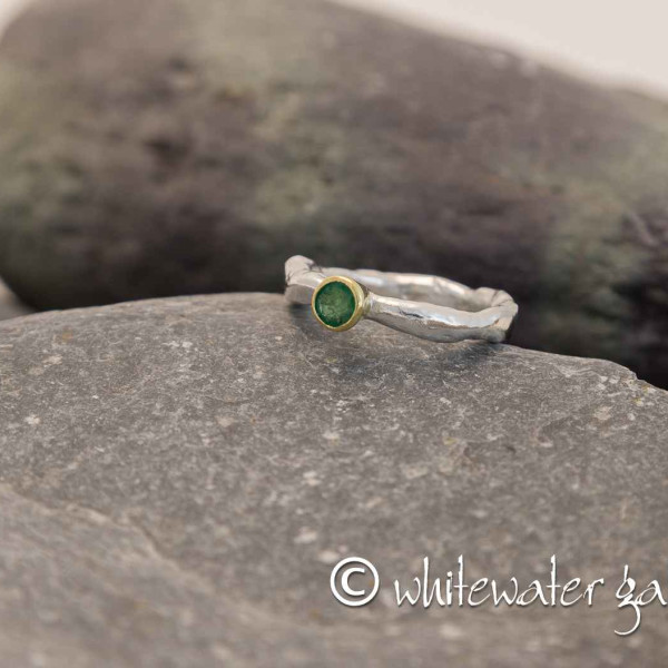 Marsha Drew, Rockpool Rustic Ring with Emerald set in 18k Gold