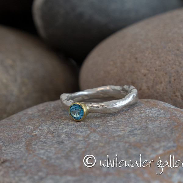 Marsha Drew, Rockpool Rustic Ring with Swiss Blue Topaz, set in 18ct gold