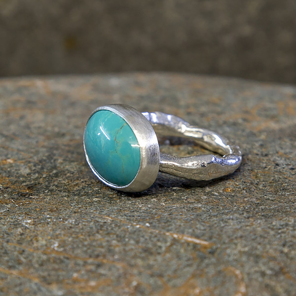 Marsha Drew, Rockpool Rustic Ring With Xlarge Oval Faceted Turquoise