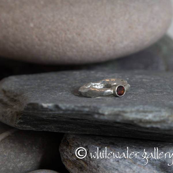 Marsha Drew, Rockpool Rustic Ring with small Garnet