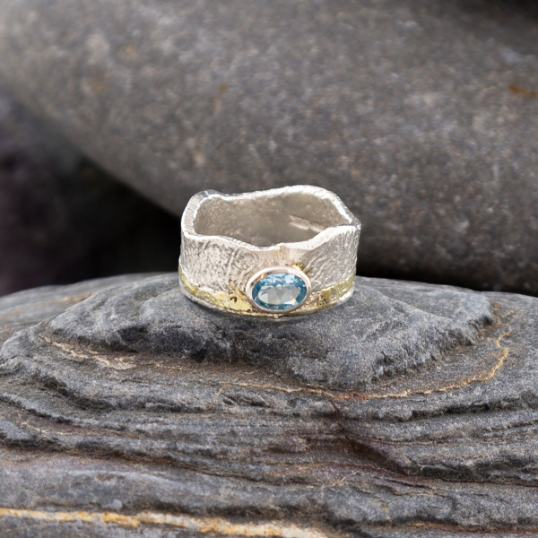 Marsha Drew, Textured Aquamarine Crown Ring with 9k Gold
