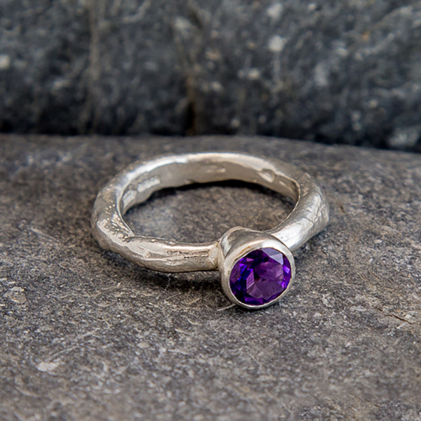 Marsha Drew, Rockpool Rustic Ring with large Amethyst