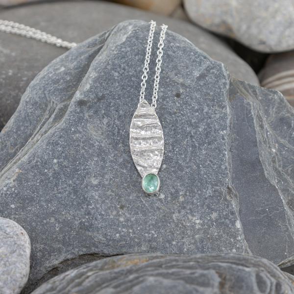 Marsha Drew, Strata Leaf Pendant with Tourmaline
