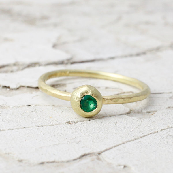 Marsha Drew, Slim Hammered Nugget Ring with Emerald