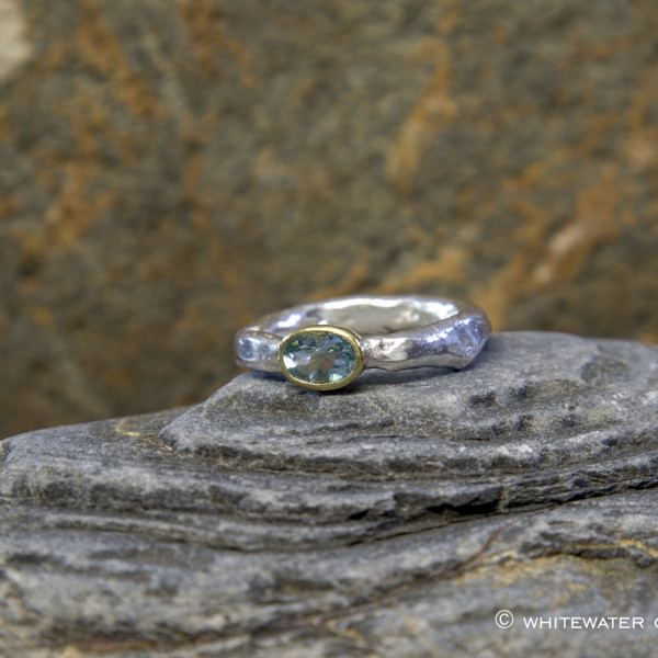 Marsha Drew, Rockpool Rustic Ring with Aquamarine set in oval 18k Gold setting