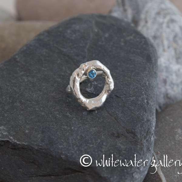 Marsha Drew, Rockpool Halo Ring with Swiss Blue Topaz