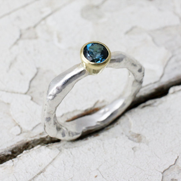 Marsha Drew, Rockpool Rustic Ring with London Blue topaz set in 18ct gold