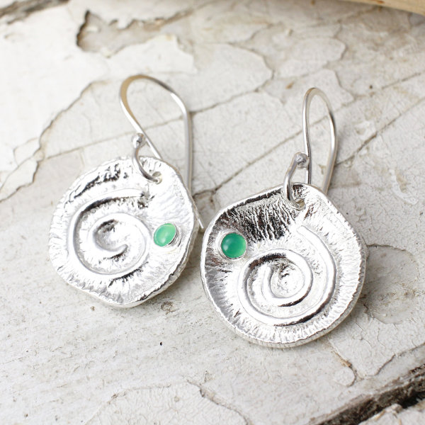 Marsha Drew, Textured Swirly Dangle Earrings with Chrysoprase