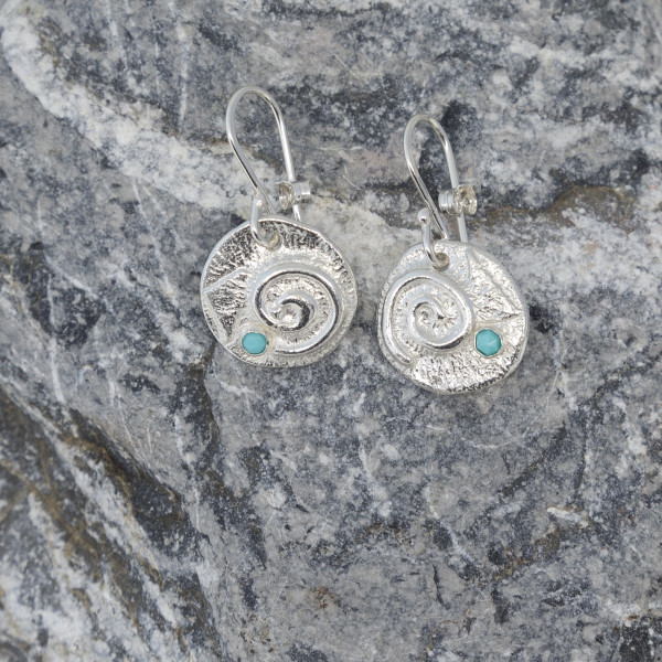 Marsha Drew, Swirly Drop Earrings with Turquoise