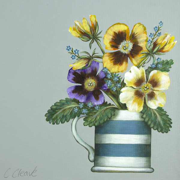 Caroline Cleave, Pansies in Cornish Blue Mug