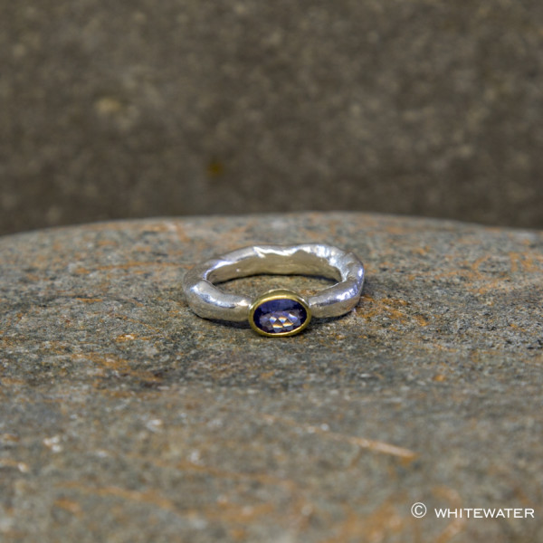 Marsha Drew, Rockpool Rustic Ring with Tanzanite set in 18k Gold oval setting