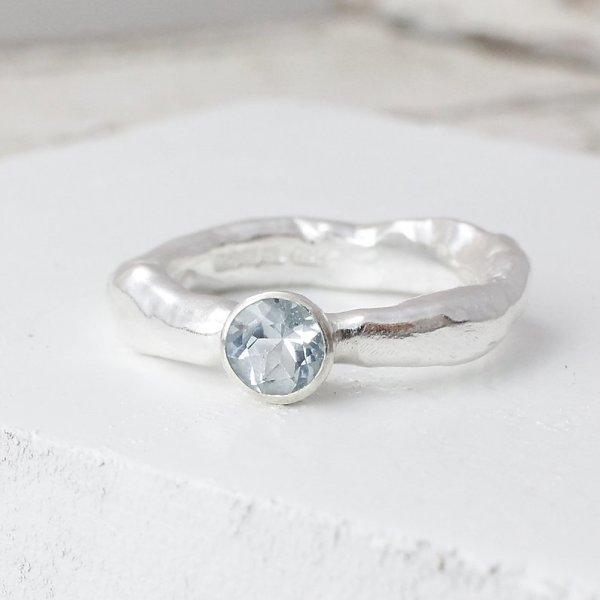 Marsha Drew, Rockpool Rustic Ring with Small Aquamarine