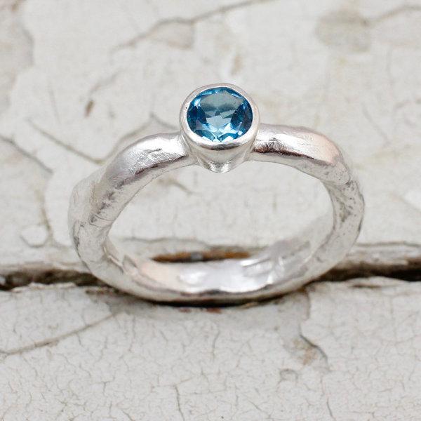 Marsha Drew, Rockpool Rustic Ring with Swiss Blue Topaz