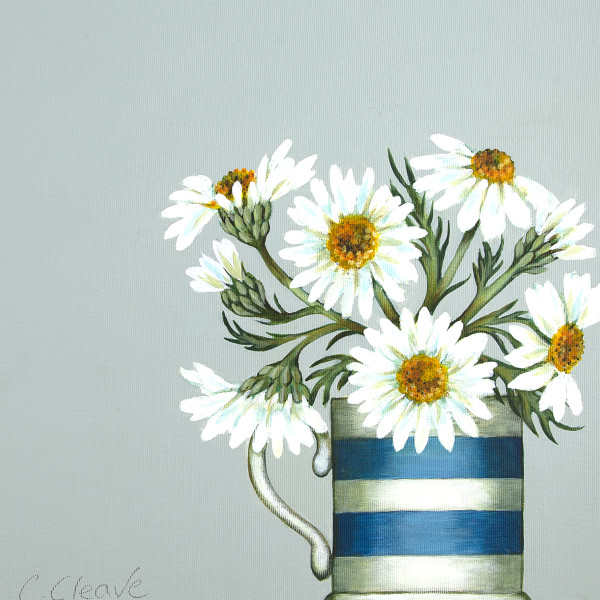 Caroline Cleave, Daisies in Cornish Blue Mug