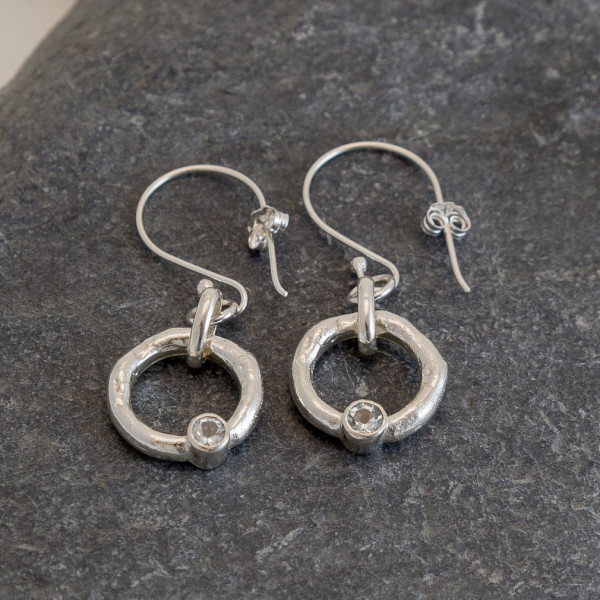 Marsha Drew, Rockpool Halo Drop Earrings with Aquamarine