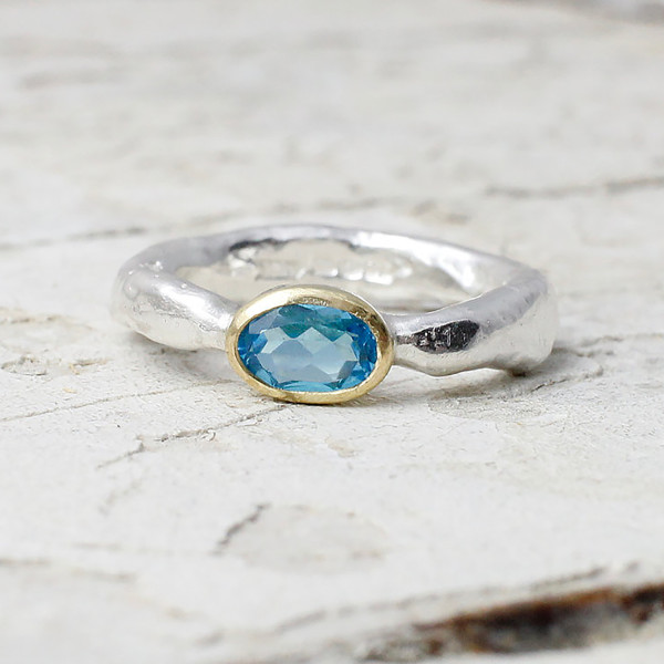 Marsha Drew, Rockpool Rustic Ring with Oval Swiss Blue Topaz set in 18ct Gold