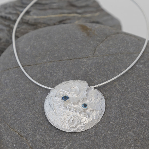 Marsha Drew, Textured Disc Pendant with Swiss Blue Topaz and London Blue Topaz