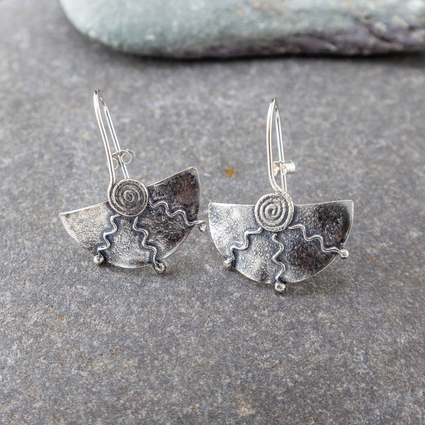 Marsha drew, Half Moon Spiral Earrings Oxidised