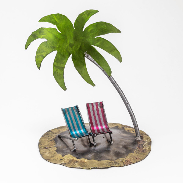 Kerry Whittle - Two Deckchairs with Palm Tree