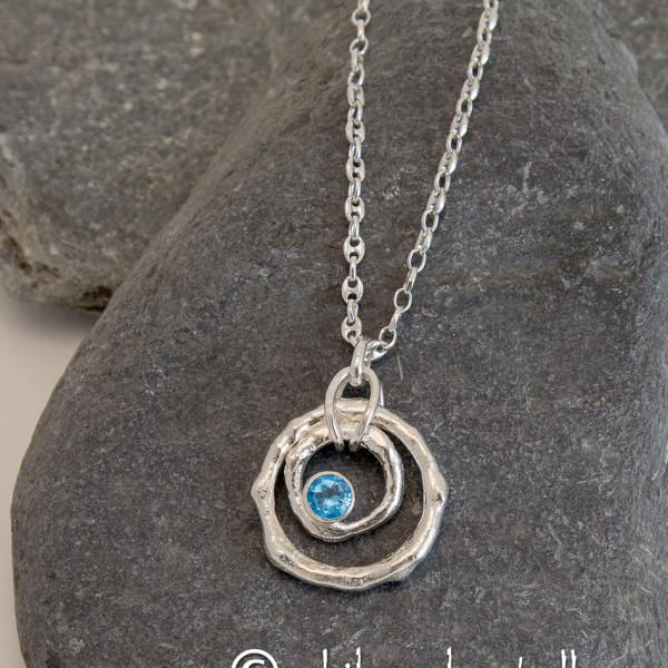Marsha Drew, Rockpool Ripple Pendant with Swiss Blue Topaz