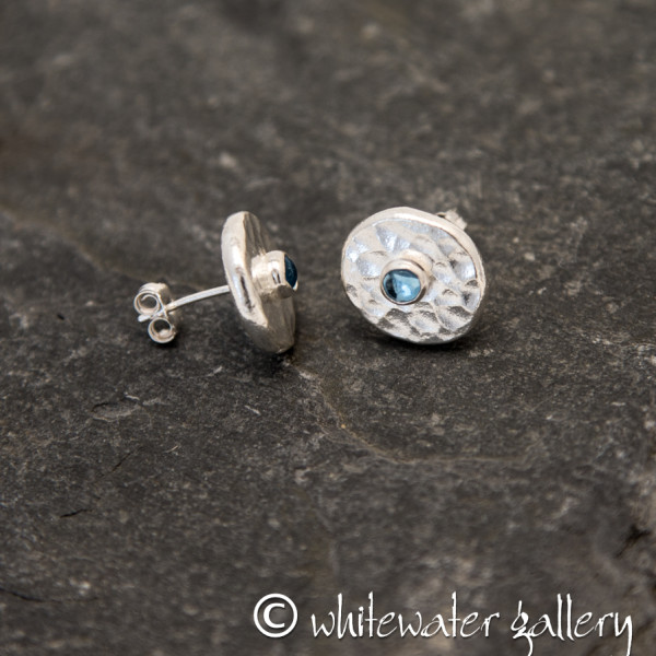 Marsha Drew, Hammered Fine Silver Stud Earrings with Swiss Blue Topaz