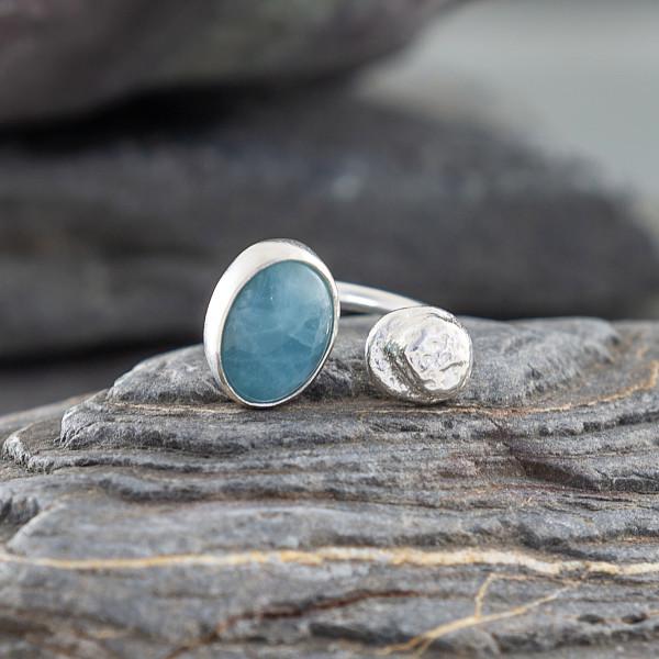Marsha Drew - Double Pebble Ring with Aquamarine