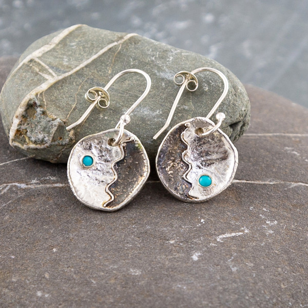 Marsha Drew, Round Shield Drop Earrings with Turquoise