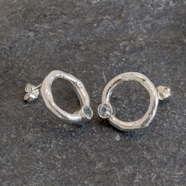 Marsha Drew, Rockpool Halo Stud Earrings with Aquamarine