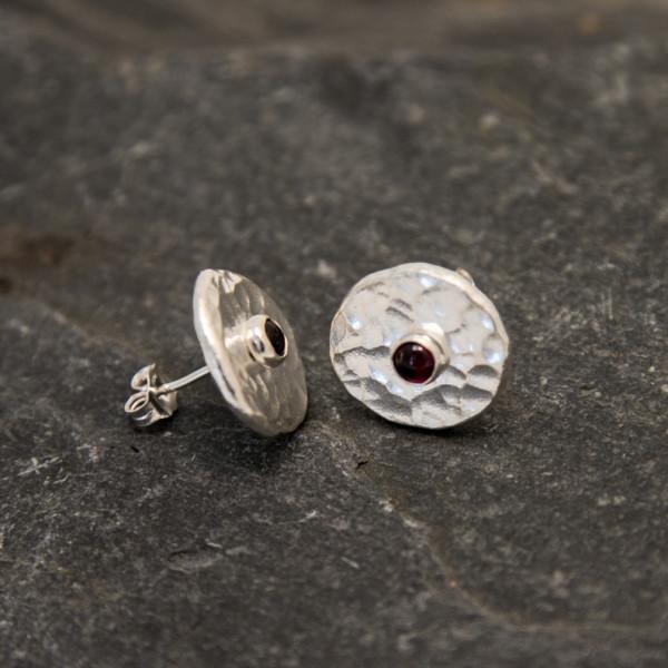 Marsha Drew, Fine Silver Stud Earrings with Garnet