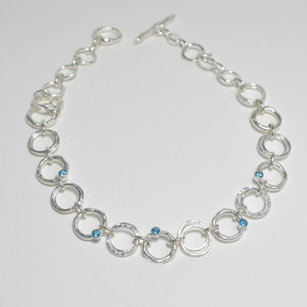 Marsha Drew, Rockpool Link Necklace, Hammered and Molten with Swiss Blue Topaz