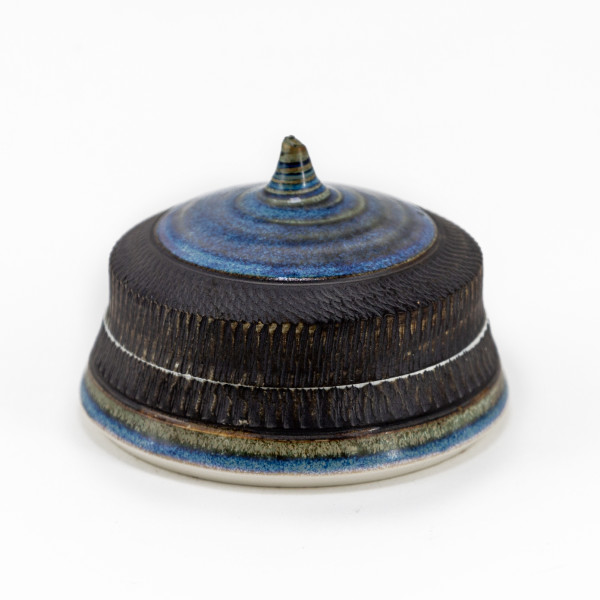 Hugh West, Lidded Circular Box, Blue Glaze & Chattered Edges