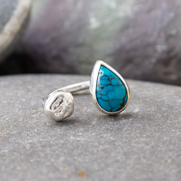 Marsha Drew, Pebble Ring with Teardrop Turquoise