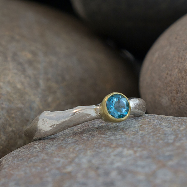 Marsha Drew, Rockpool Rustic Ring with 18ct Gold and Swiss Blue Topaz