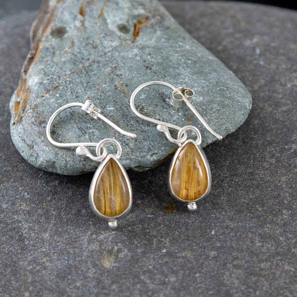 Marsha drew, Morwen Drop Earrings Golden Rutilated Quartz