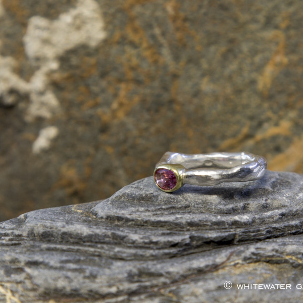 Marsha Drew, Rockpool Rustic Ring with Oval Pink Tourmaline in 18k Gold setting
