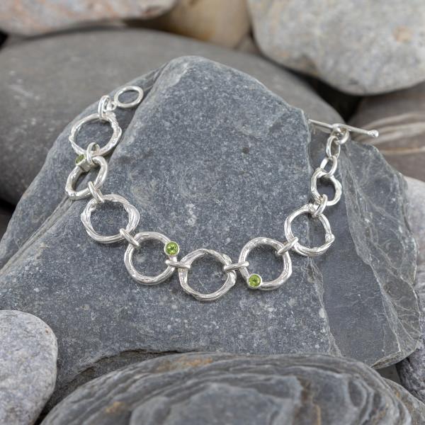 Marsha Drew, Molten Link Bracelet with Three Peridots