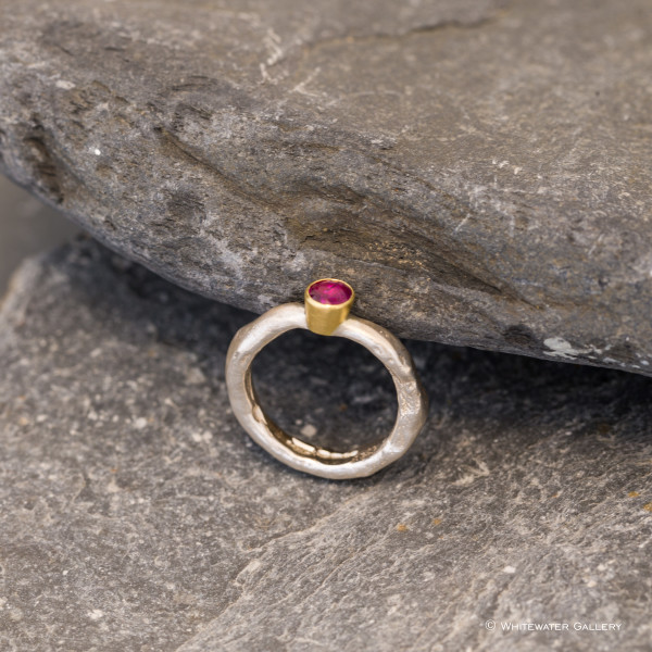 Marsha Drew, Rockpool Rustic Ring with Ruby and 18ct Gold