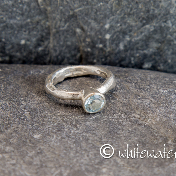 Marsha Drew, Rockpool Rustic Ring with large Aquamarine