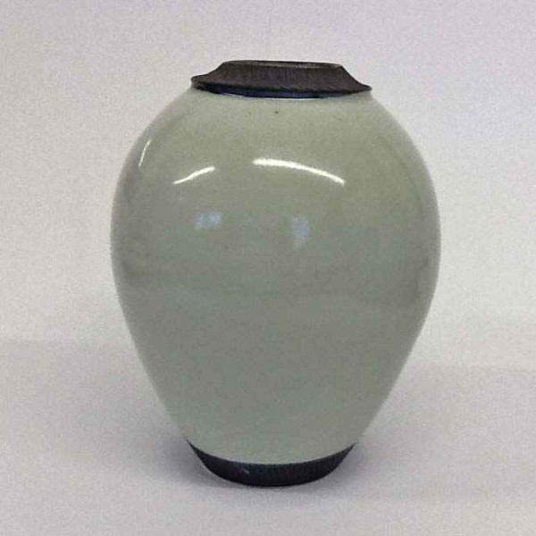Hugh West, Vase in Celadon Glaze with Chattered Rim & Base