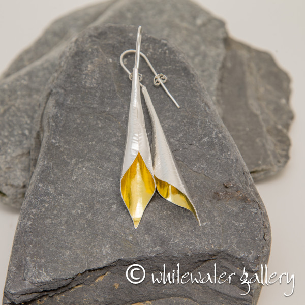 Marsha Drew, Calla Lily Earrings in Sterling Silver with 24k Gold Keum-Boo, Large