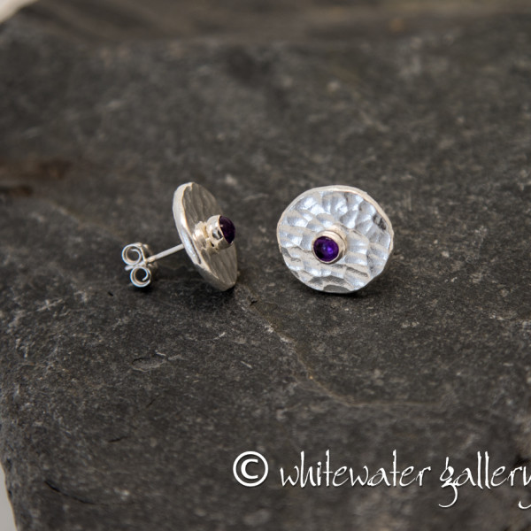 Marsha Drew, Hammered Fine Silver Stud Earrings with Amethyst