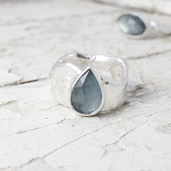 Marsha Drew, Fragment Textured Ring with Teardrop Faceted Aquamarine