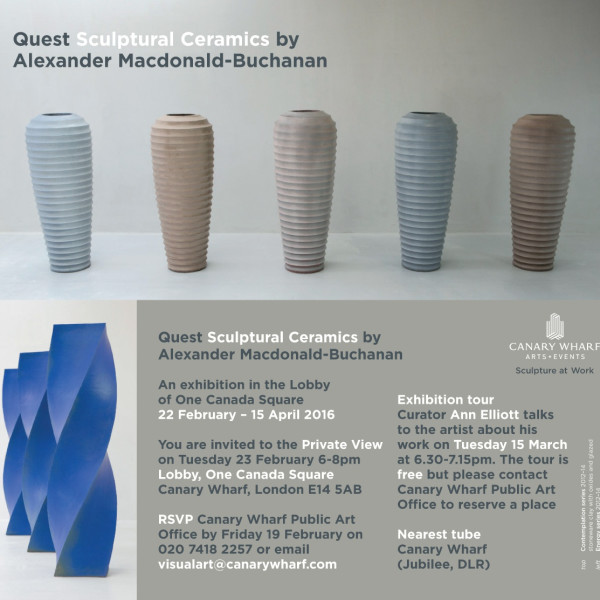 Quest Sculptural Ceramics by Alexander Macdonald-Buchanan An exhibition in the Lobby of One Canada Square