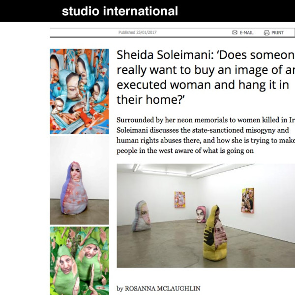 Sheida Soleimani interview in Studio International