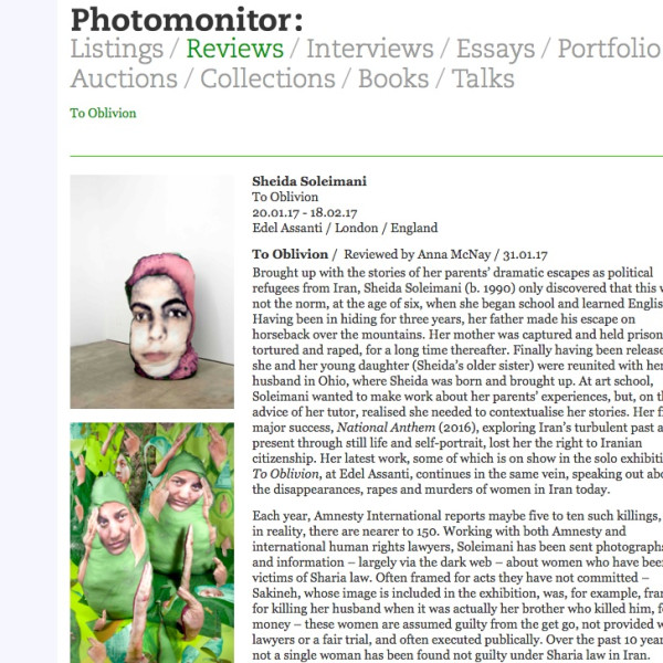 Sheida Soleimani review in Photomonitor