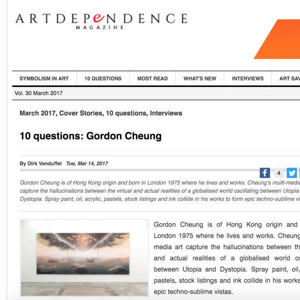 Gordon Cheung interview in ArtDependence