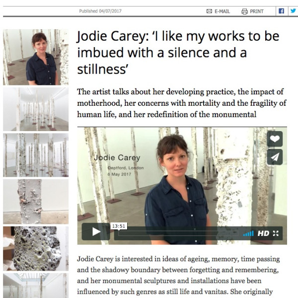 Jodie Carey interview in Studio International